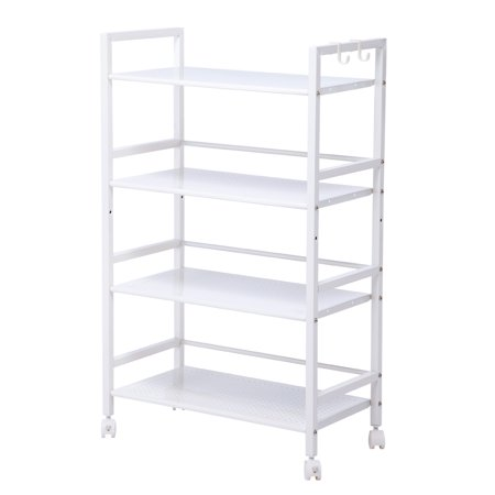 Zimtown Widen 4 Tiers Kitchen Shelf Shelving Utility Storage Cart with Wheels 4 Shelf Mobile Cart