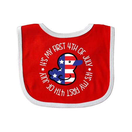 1st 4th Of July Independence Day Baby Bib Red/White One Size