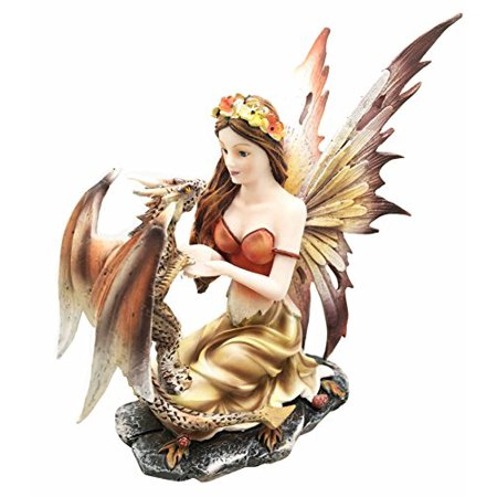 Beautiful Scarlet Fire Fairy Goddess With Pet Spotted Dragon Figurine Meadows of Fae Garden Collector Sculpture Statue