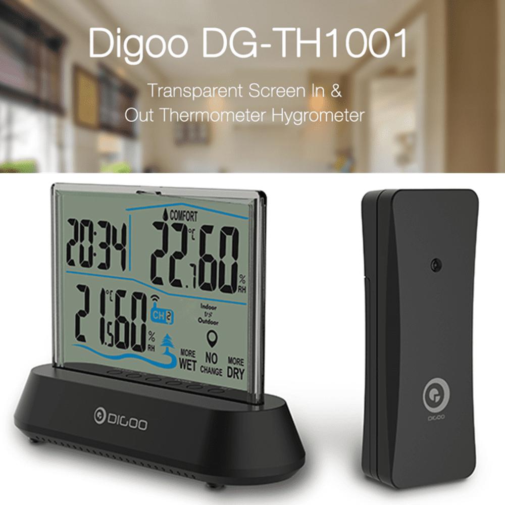Digoo DG-TH1001 Wireless Transparent Screen In&Outdoor Hygrometer Thermometer Indicator Sensor Clock