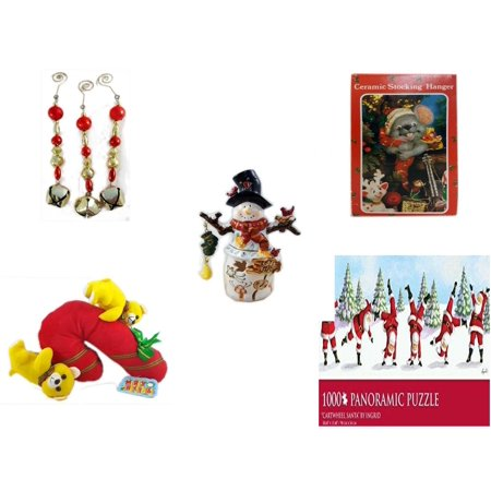 Christmas Fun Gift Bundle [5 Piece] - Set of 3 Jingle Bell Dangle Ornaments - Vintage Designed Stocking Hanger Mouse - Snowman Tealight Cover - Merry  Candycane With Animals  12