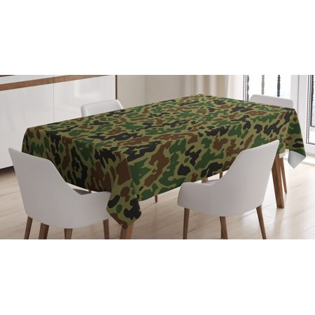 Camouflage Tablecloth, Military Green Pattern Abstract Formless Design Blending into the Forest, Rectangular Table Cover for Dining Room Kitchen, 52 X 70 Inches, Green Brown Black, by Ambesonne (Camouflage Tablecloth)