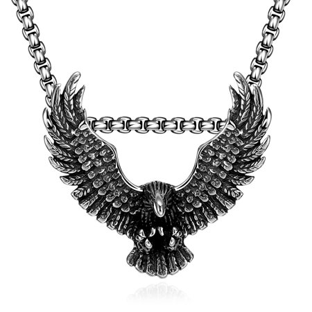 Men Necklace LEKANI GOMAYA Retro Eagle 316L Stainless Steel Men's Necklace animation Vintage Jewelry (316l Stainless Steel Dolphin)