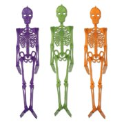 Club Pack of 12 Multi-Colored Jointed Skeleton Halloween Decorations 4'