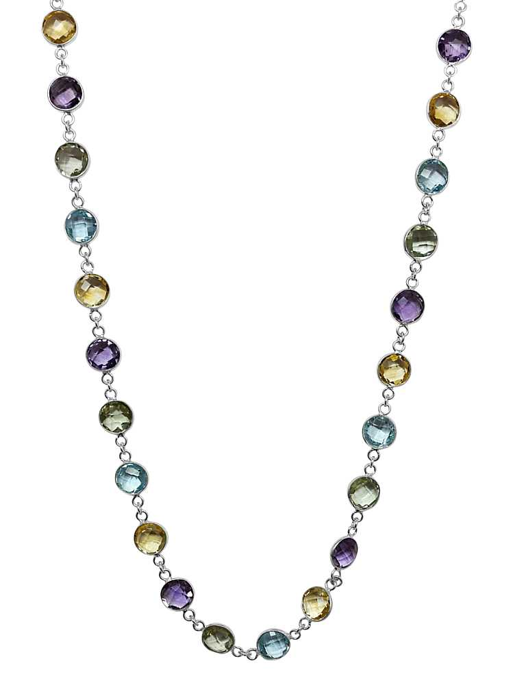 """18"""" Sterling Silver 8MM Round Amethyst Blue-Topaz & Citrine 43.00 Carat Necklace by"""