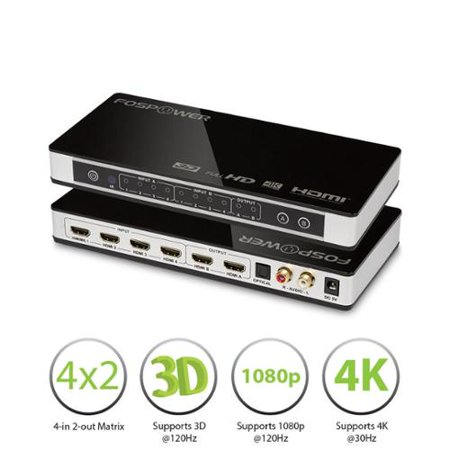 FosPower HDMI + MHL 4-In 2-Out Matrix Switch Splitter with Optical & L/R Audio Output Support 4K x 2K@30Hz & ARC US Plug