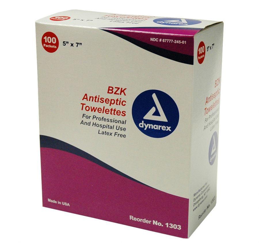 Dynarex BZK Antiseptic Towelette 5'' W x 7'' L, Lavender Scent, 100 Count, 8 Pack