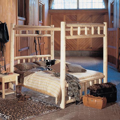rustic natural cedar furniture canopy four poster bed - walmart