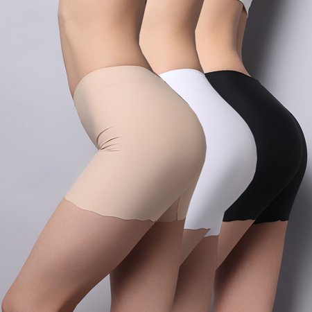 Women Boxer Briefs Prevent Exposure Mid Waist Ice Silk Without Trace Leggings Women's Intimates Short Panties