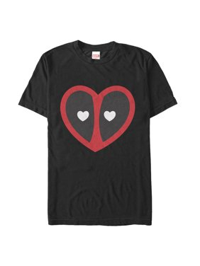 Marvel Men's Valentine's Day Deadpool Heart Mask T-Shirt