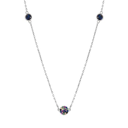 Multicolored Cubic Zirconia Station Necklace in Sterling (Single Strand Sterling Silver Box)