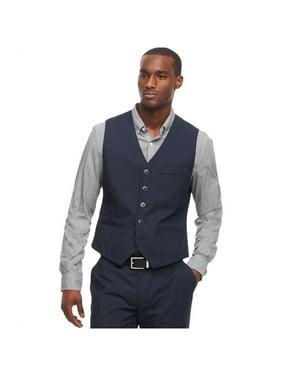 Kenneth Cole Mens Micro Dot Four Button Vest, Blue, X-Large (Regular)