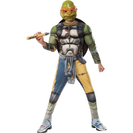 Teenage Mutant Ninja Turtles 2 Michelangelo Deluxe Child Halloween Costume - Easy Guy Halloween Costumes