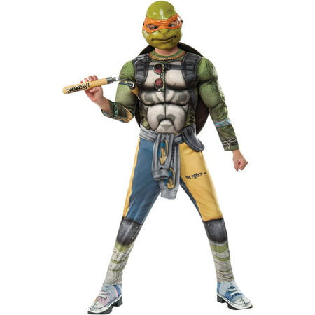 Teenage Mutant Ninja Turtles 2 Michelangelo Deluxe Child Halloween Costume - Teenage Mutant Ninja Turtle Muscle Halloween Costume