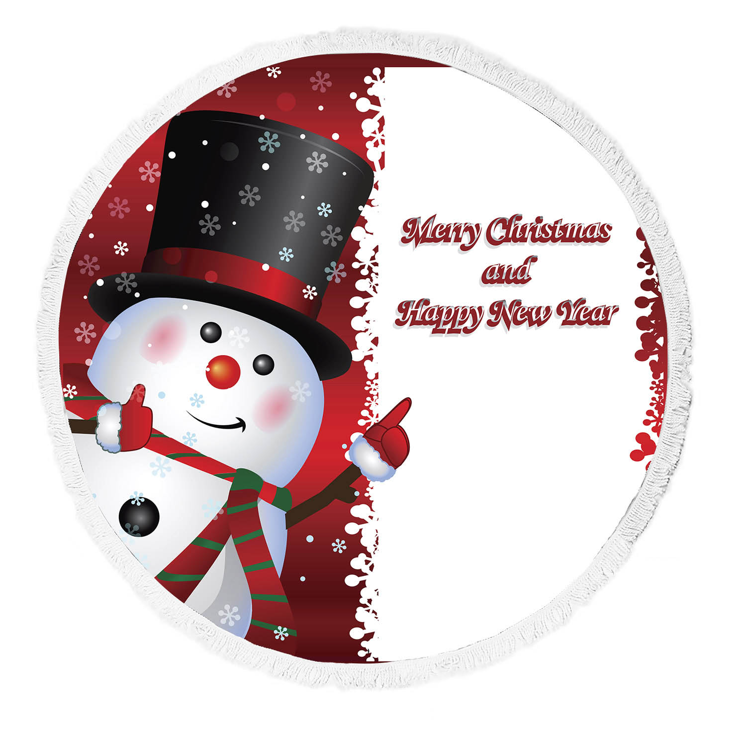 Ykcg Red Christmas Snowman Quotes Winter Snowflakes Round Beach