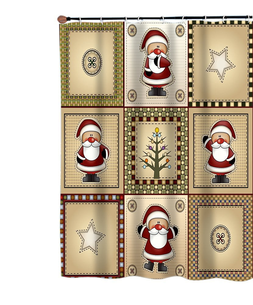 Carnation Homes Americana Country Santa Christmas Fabric Shower ...