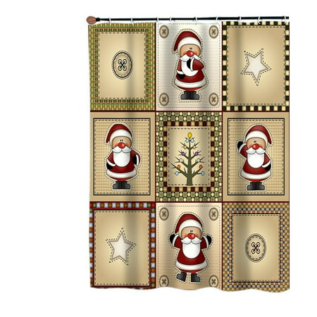 - Carnation Homes Americana Country Santa Christmas Fabric Shower Curtain
