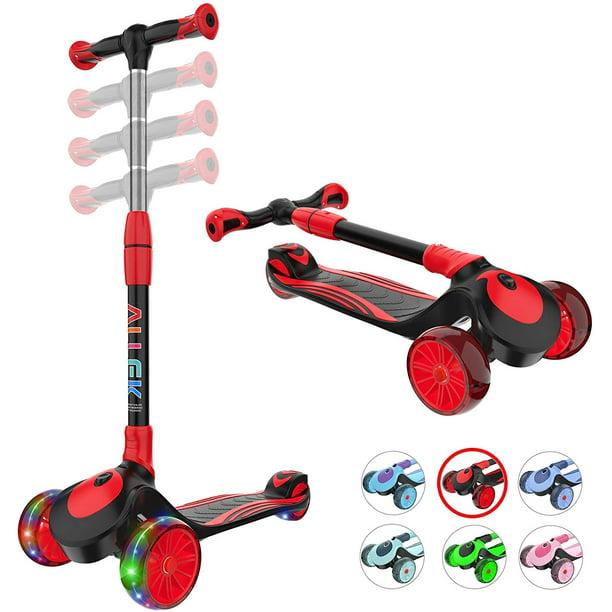 Kids Kick board Kick Scooter Adjustable Folding 3 Wheel Push T-Bar LED Flashing
