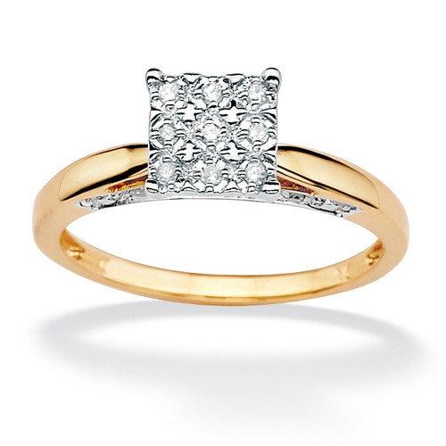 Palm Beach Jewelry Round Diamond Pave Princess Ring