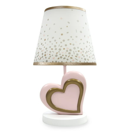 Metallic Shade (Lambs & Ivy Pink & Metallic Gold Heart Nursery Lamp with Shade & Bulb)