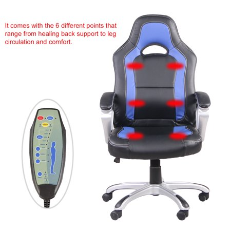 CNMODLE Heated 6 Vibrating Armchair PU Leather Office Massage Chair ...