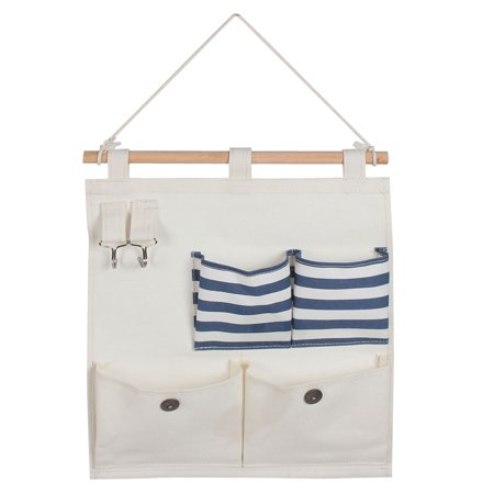 Cotton Linen Stripe Pattern Wall Door Closet Hang Storage Bag Case Blue Beige