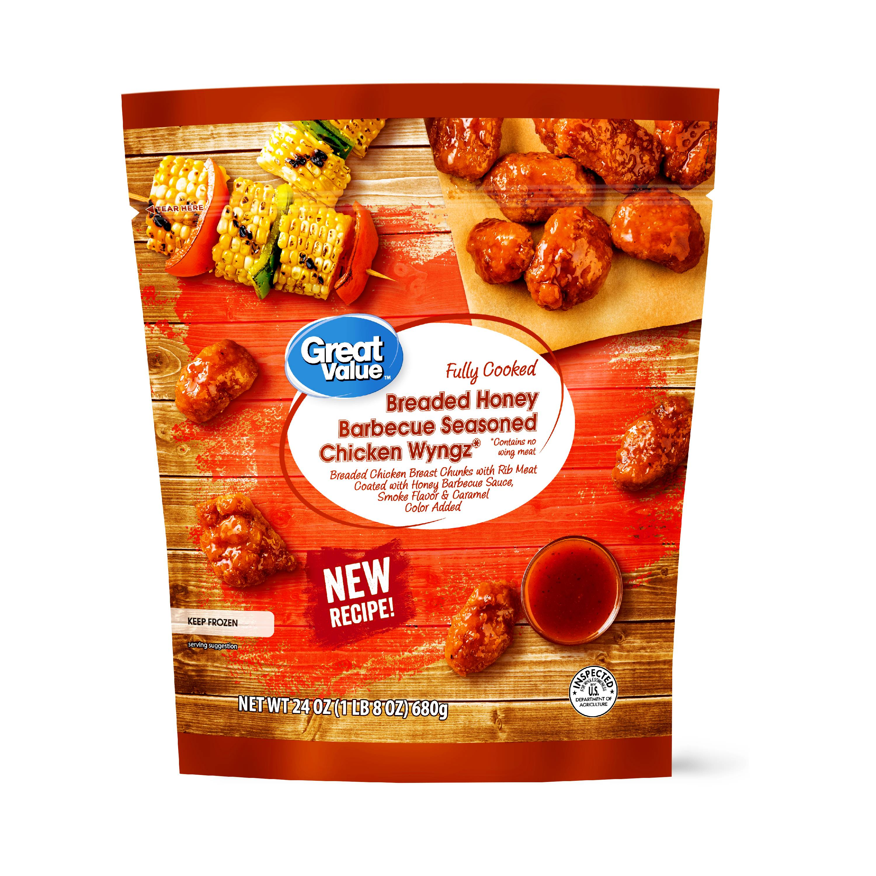 Great Value Breaded Honey Barbecue Seasoned Chicken Wyngz, 24 oz