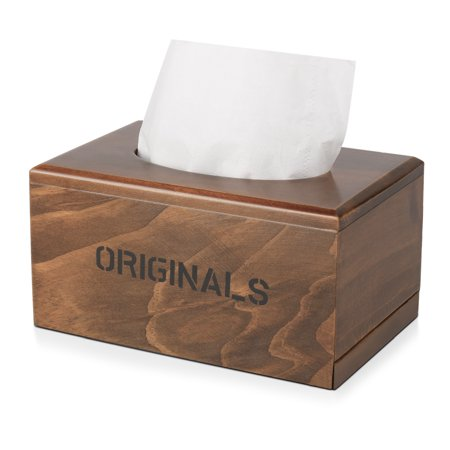 Wooden Tissue Box Cover, Rustic Rectangular Napkin Dispenser Holder with Slide Out Bottom Panel, Dark (Wooden Tissue Box Cover)