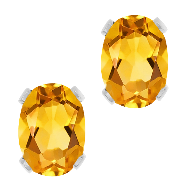 2.50 Ct Oval Yellow Citrine Silver Plated 4-prong Stud Earrings 8x6mm