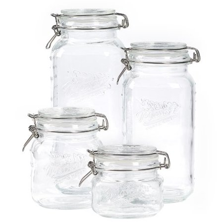 Mason Craft and More 4 Piece Square Glass Mini Clamp Jar