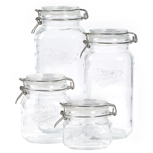 Mason Craft and More 4 Piece Square Glass Mini Clamp Jar Set