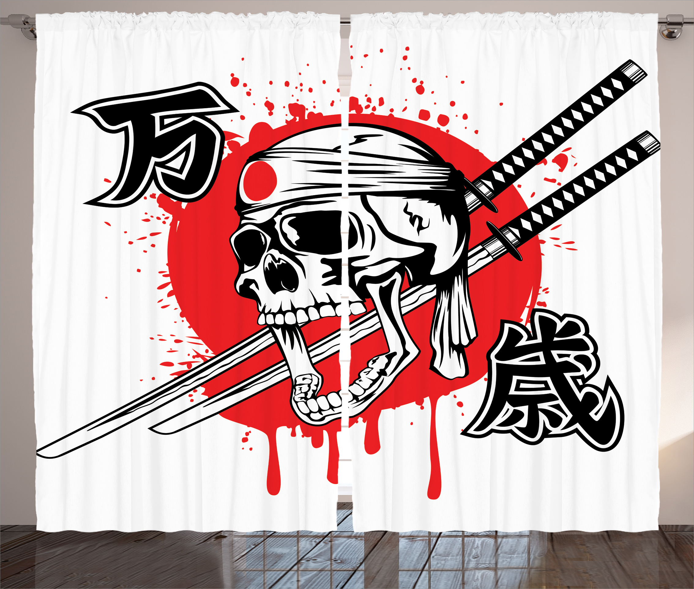 Japanese Decor Curtains 2 Panels Set, Skull of Kamikaze with Bandanna Samurai... by Kozmos