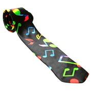 Trendy Skinny Tie - Black with Rainbow Music Notes