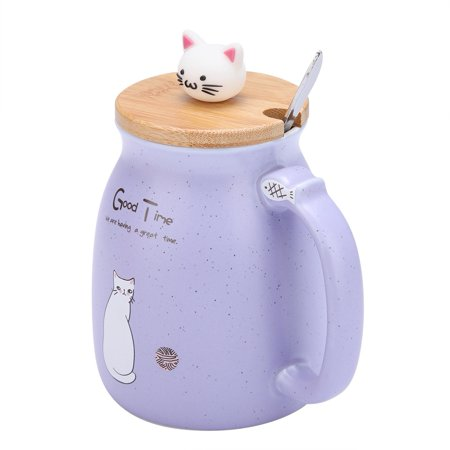Ejoyous 1Pc Lovely Cat Ceramic Cup with Spoon and Lid  Coffee Water Milk Mug for Drinkware Gift,Cup, Milk Mug - image 4 of 8