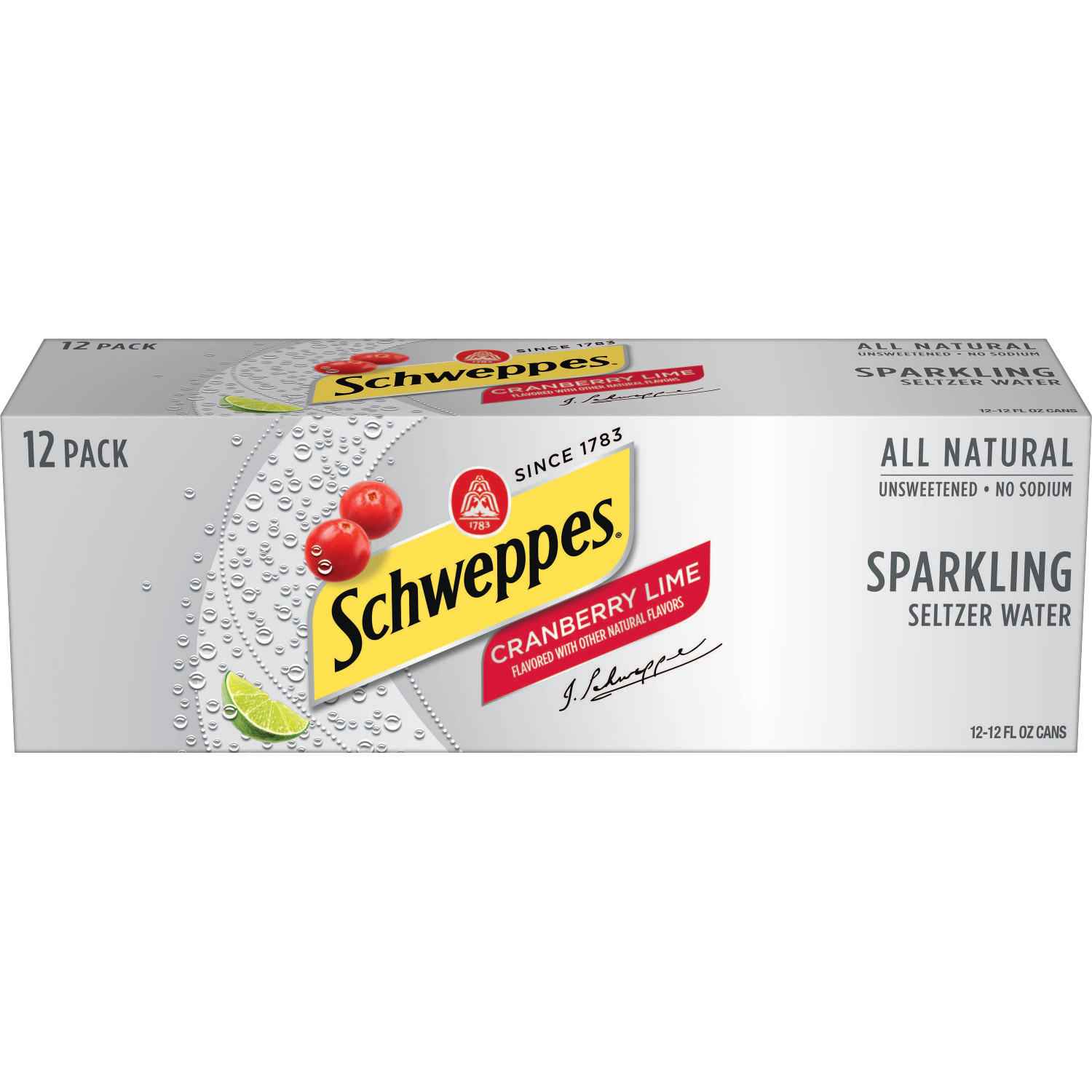 Schweppes Cranberry Lime Sparkling Seltzer Water, 12 fl oz, 12 pack