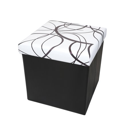 Otto & Ben 15 Inch Swirl Design Memory Foam Folding Storage Ottoman Bench with Faux Leather Folding Storage Bench