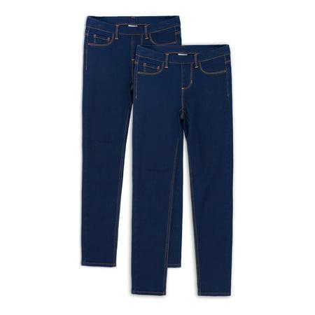 Wonder Nation Girls Kid Tough Pull-on Jegging Jeans, 2-Pack, Sizes 4-18 & Plus