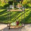 Maraka Outdoor Antique Finish Firwood and Iron Bar Cart