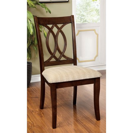Furniture of America Amersty Dining Chair in Brown Cherry (Set of 2)