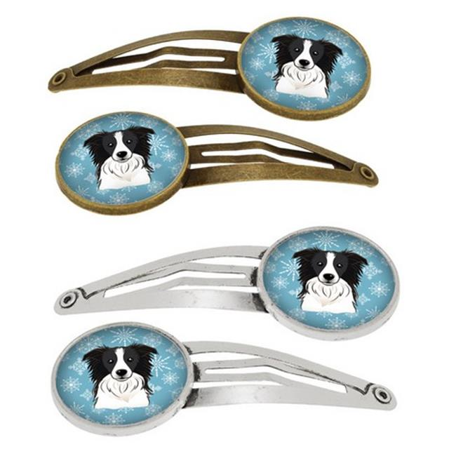 Snowflake Border Collie Barrettes Hair Clips, Set of 4