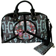 NW $250 Authentic Ed Hardy Peace Paz Carry On Bag Black