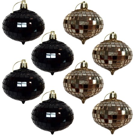 holiday time black and gold glitter and mirror onion christmas ornaments set of 8 - Black And Gold Christmas Ornaments