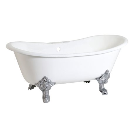 Aqua Eden 67 Inch Cast Iron Clawfoot Tub With 7 Inch