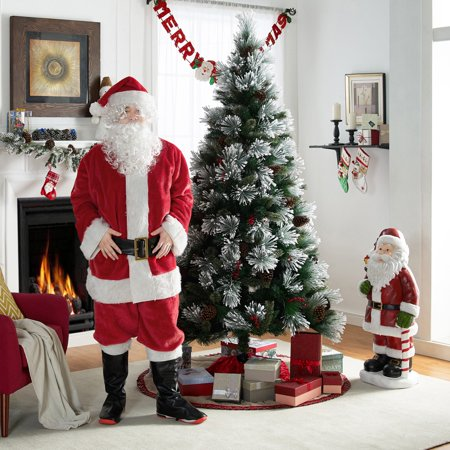 Holiday Time 7-Piece Santa Suit, One Size Fits Most, Made of Polyester