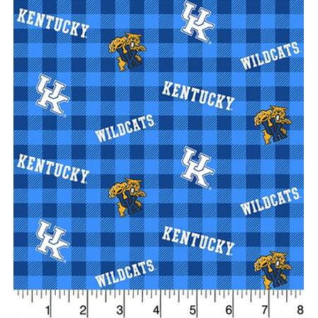 Kentucky Wildcats Fabric - University of Kentucky Cotton Fabric-Sold by the Yard-Buffalo Plaid Design