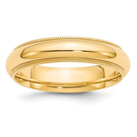 14k Yellow Gold 5mm Milgrain Comfort Wedding Ring Band Size 7.50 Classic Half Round Fit Fine Jewelry For Women Valentines Day Gifts For Her - image 7 de 7