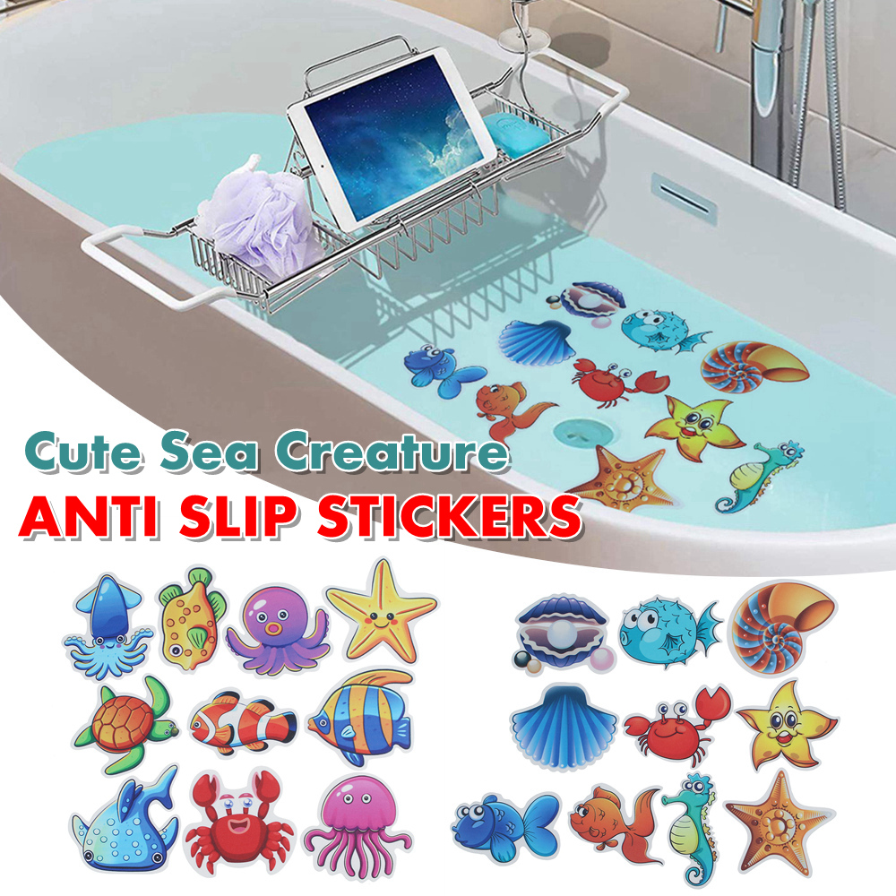 9 Pcs Bathtub Stickers Non Slip Safety Shower Treads Adhesive Bright Sea Creature Appliques Walmart Com Walmart Com