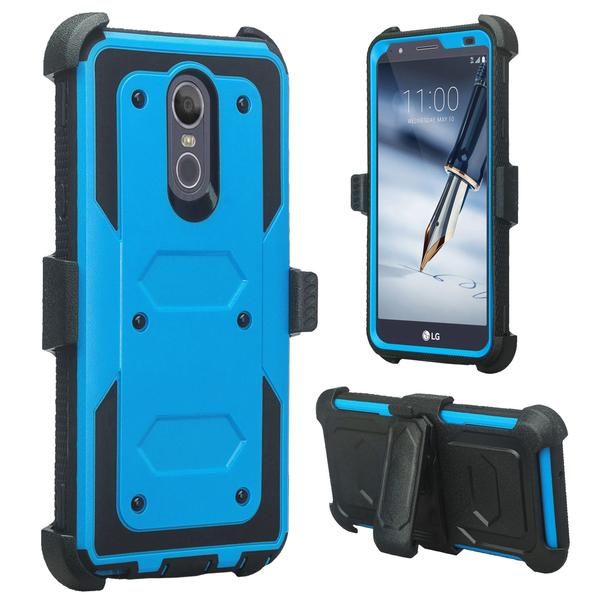 LG Stylo 4 Case, Rugged Series with Built-in [Screen Protector] Heavy Duty Full-Body Rugged Holster Armor Case [Belt Swivel Clip][Kickstand] (Blue) - image 1 de 6