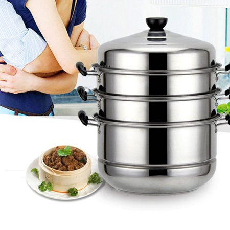 KingSo 4/5 Tier Stainless Steel Steamer Pot,Basket Metal Steaming Cookware for Crab Seafood Food Vegetable Bamboo,30x