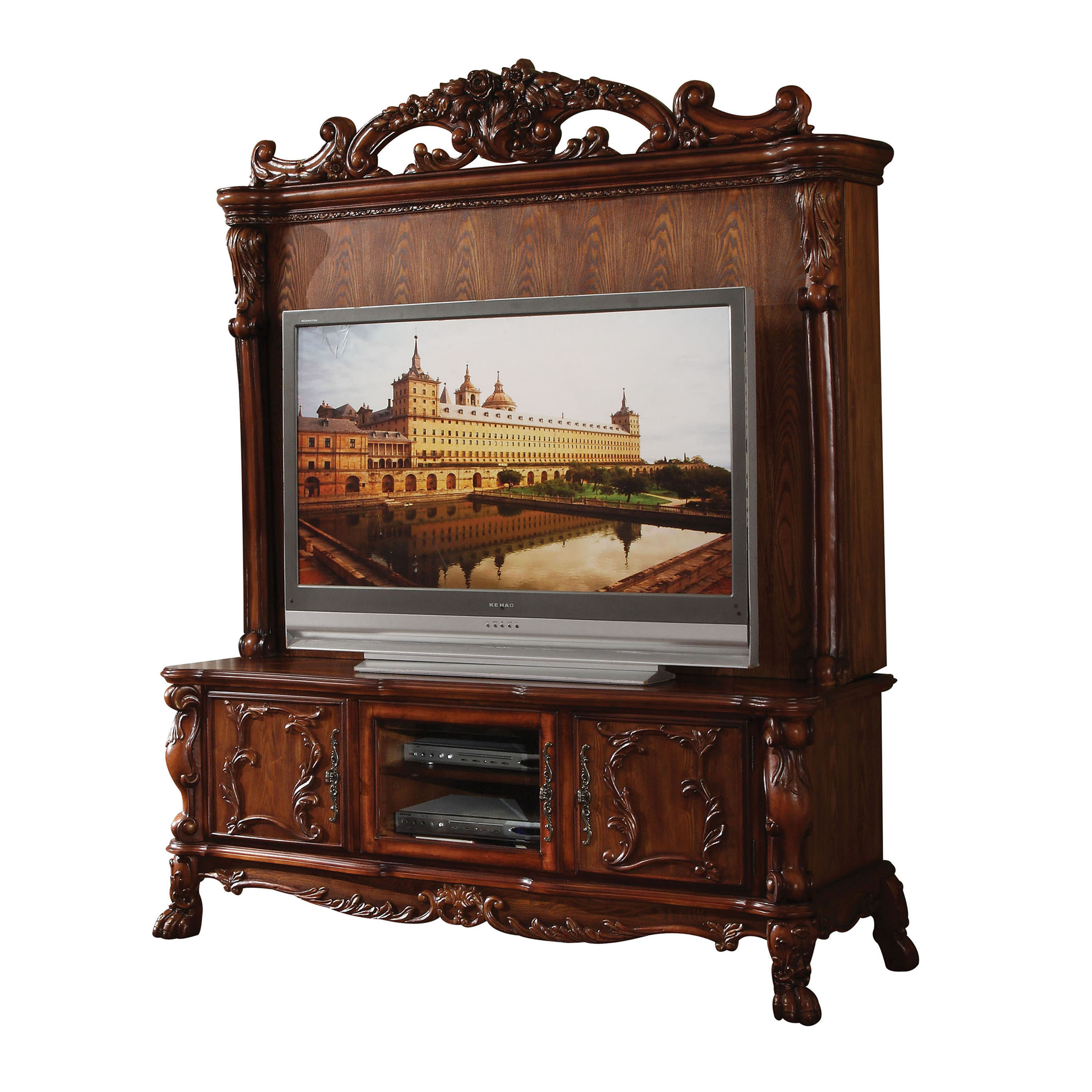 ACME Dresden Entertainment Center with 3 Drawer in Cherry Oak